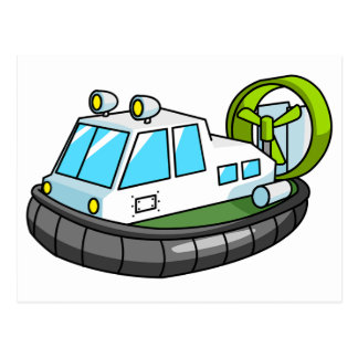 White, Green, and Black Cartoon Hovercraft Post Cards