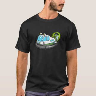 White, Green, and Black Cartoon Hovercraft T-Shirt