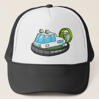 White, Green, and Black Cartoon Hovercraft Trucker Hat