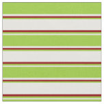 [ Thumbnail: White, Green, and Dark Red Stripes Fabric ]