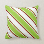 [ Thumbnail: White, Green, and Dark Red Stripes Throw Pillow ]