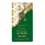 White, green and gold damask wedding wine bottle label