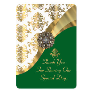 White, green and gold wedding favor thank you tag large business card