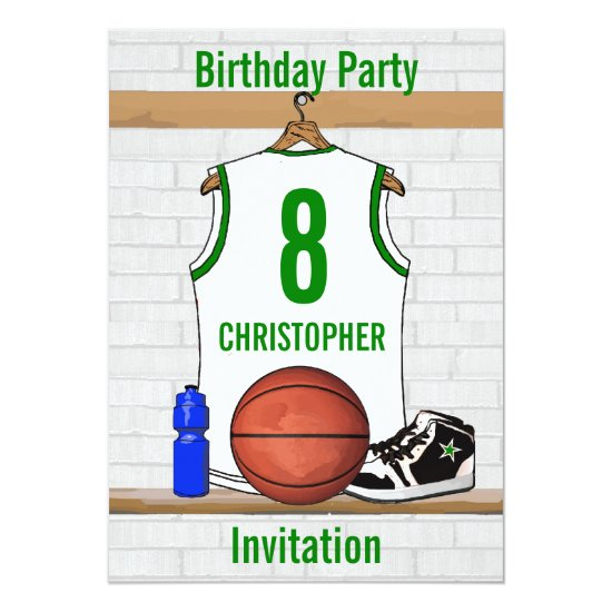 White Green Basketball Jersey Birthday Party Invitation