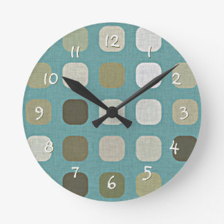 White Green Brown Retro Chic Round Squares Pattern Round Clock
