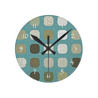 White Green Brown Retro Chic Round Squares Pattern Round Clock