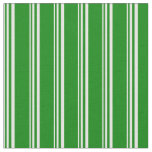 [ Thumbnail: White & Green Colored Striped Pattern Fabric ]