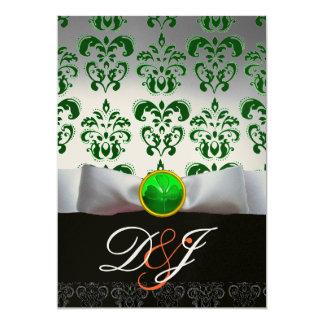WHITE GREEN DAMASK & SHAMROCK MONOGRAM GOLD Orange 5x7 Paper Invitation Card