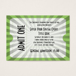 White/Green Event Ticket, Lg Business Card Size
