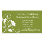 White & Green Floral Wedding Planner Business Card Business Card Templates
