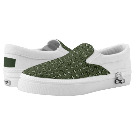 White Green Forest Leaf Petals Slip-On Sneakers