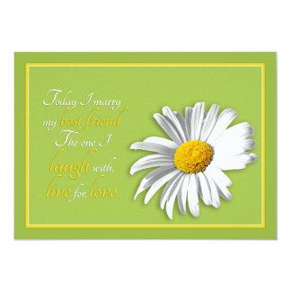 White Green Gold Daisy Wedding Invitation