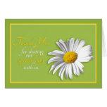 White Green Gold Daisy Wedding Thank You Card