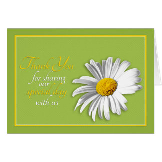 White Green Gold Daisy Wedding Thank You Stationery Note Card