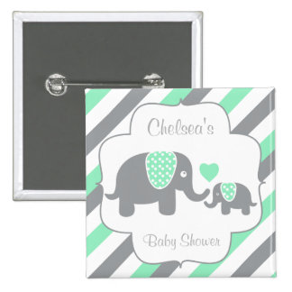 White, Green & Gray Stripe Elephants Baby Shower 2 Inch Square Button