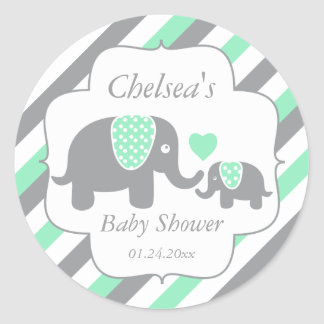 White, Green & Gray Stripe Elephants Baby Shower Classic Round Sticker