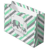White, Green & Gray Stripe Elephants Baby Shower Large Gift Bag