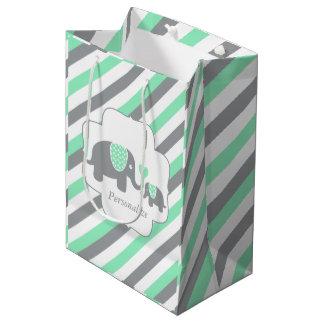 White, Green & Gray Stripe Elephants Baby Shower Medium Gift Bag
