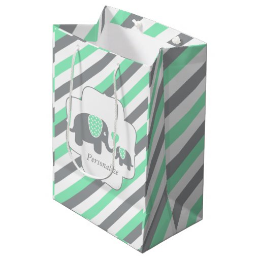 White, Green & Gray Stripe Elephants Baby Shower Medium Gift Bag