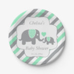 White, Green & Gray Stripe Elephants Baby Shower Paper Plate