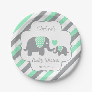 White, Green & Gray Stripe Elephants Baby Shower Paper Plate