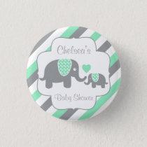 White, Green & Gray Stripe Elephants Baby Shower Pinback Button