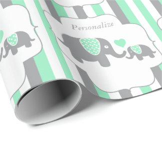 White, Green & Gray Stripe Elephants Baby Shower Wrapping Paper