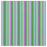 [ Thumbnail: White, Green, Light Blue, Orchid Stripes Pattern Fabric ]