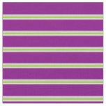 [ Thumbnail: White, Green, Light Grey & Purple Colored Pattern Fabric ]