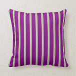[ Thumbnail: White, Green, Light Grey & Purple Colored Pattern Throw Pillow ]