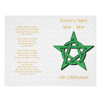 White & Green Pentacle Wiccan Funeral Program Personalized Flyer
