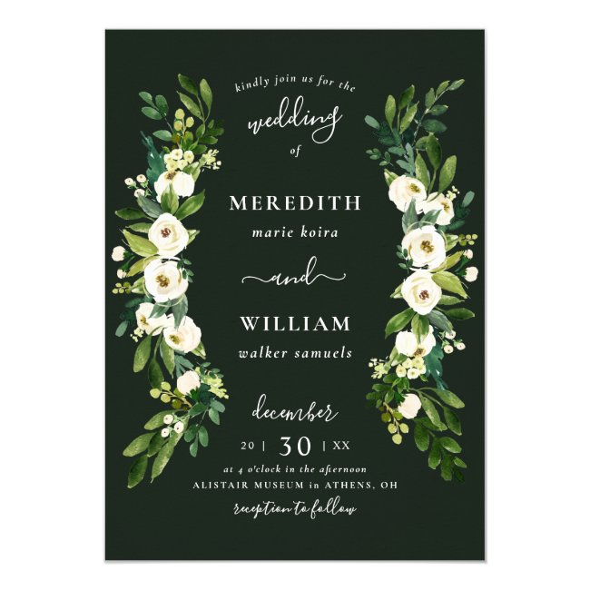 White Green Rose Garden Wedding Invitation