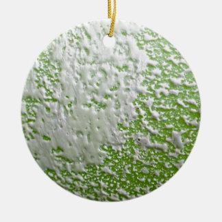 White & Green Rust Ceramic Ornament