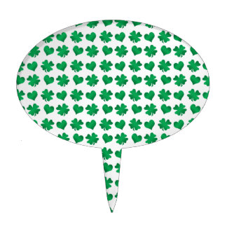 White green shamrocks and hearts cake toppers