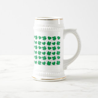 White green shamrocks and hearts 18 oz beer stein