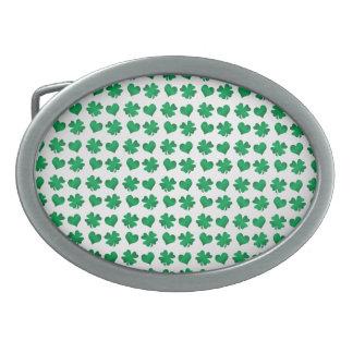 White green shamrocks and hearts oval belt buckle