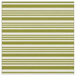 [ Thumbnail: White & Green Striped Pattern Fabric ]