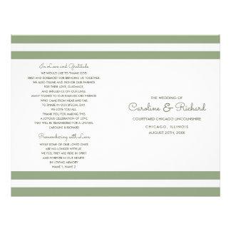 White Green Stripes Custom Wedding Programs