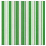 [ Thumbnail: White & Green Stripes Pattern Fabric ]