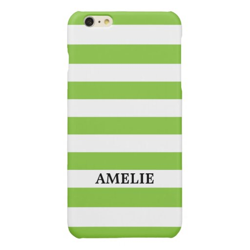 White Green Stripes Pattern {pick your color} Glossy iPhone 6 Plus Case