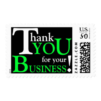 """White & Green """"Thank you for your Business"""" Postage"""