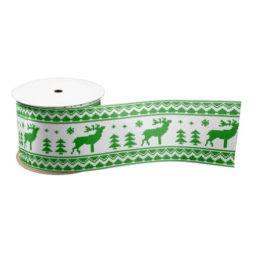 White Green Ugly Christmas Sweater Pattern Ribbon