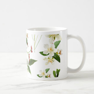 WHITE GREEN WHIMSY FLORALS SHABBY CHIC COFFEE MUG