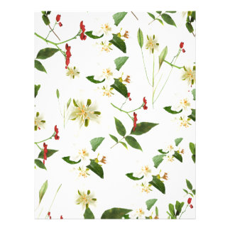 WHITE GREEN WHIMSY FLORALS SHABBY CHIC LETTERHEAD