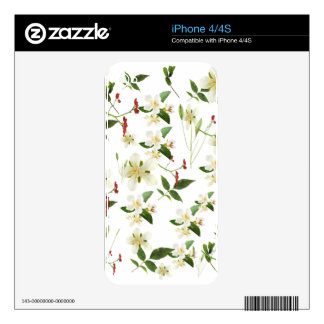 WHITE GREEN WHIMSY FLORALS SHABBY CHIC SKIN FOR THE iPhone 4S