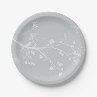 White Grey Bird Branches Paper Plate