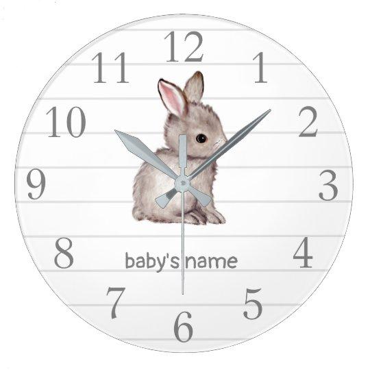 White Grey Bunny Nursery Decor Wall Clock