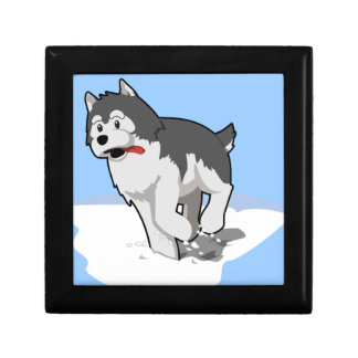 White-grey cute cartoon Husky dog Jewelry Box