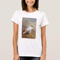 white grey falcon bird painting T-Shirt