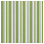 [ Thumbnail: White, Grey & Green Colored Stripes/Lines Pattern Fabric ]